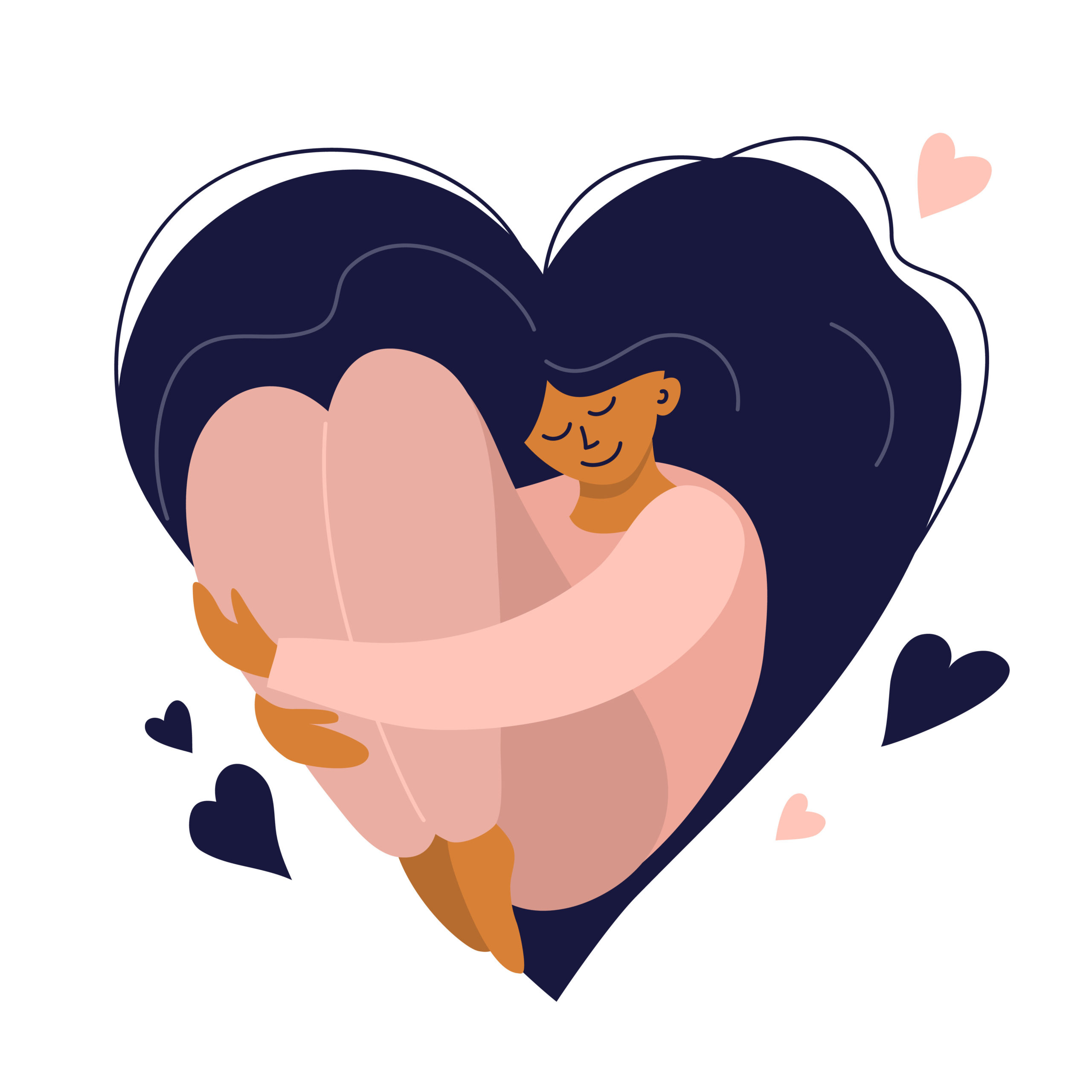 Cute girl with heart shaped long hair. Self care, love yourself icon or body positive concept. Happy woman hugs her knees. Illustration of International Women's day. Vector postcard, valentines card.